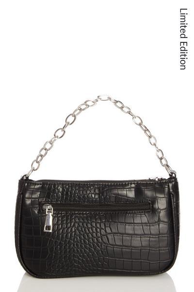Black Crocodile Print Shoulder Bag